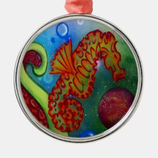 tentacule d'hippocampe et de poulpe ornement rond argenté