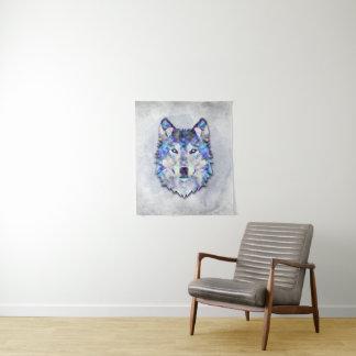 Tenture Murale Portrait de loup - motif géométrique
