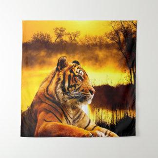 Tenture Tigre et coucher du soleil