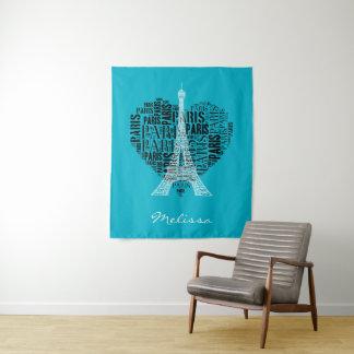 Tenture Tour Eiffel et inscriptions Paris au coeur