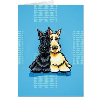 Terriers écossais deux d'une sorte carte de vœux