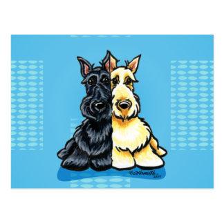 Terriers écossais deux d'une sorte carte postale