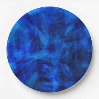 Tessons géométriques de glace bleue fraîche assiettes en papier