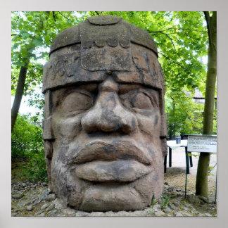 Tête antique d'Olmec ! Poster