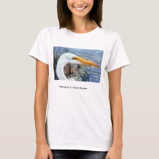 Tête de héron sur un T-shirt