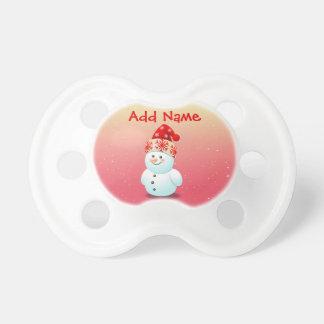 Tétine Bonhomme de neige gai de bébé avec le casquette de