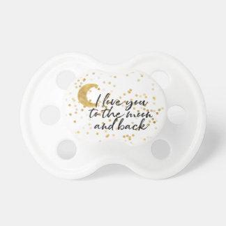 Tétine Or je t'aime aux confettis de lune