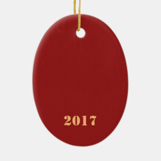 Texte editable de modèle de 2017 bonnes années ornement ovale en céramique