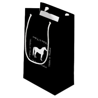 Texte personnalisable élégant de cheval blanc petit sac cadeau