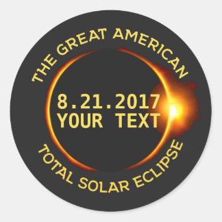Texte total de coutume des Etats-Unis de l'éclipse Sticker Rond