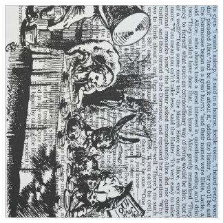 Texte vintage d'Alice et double bleu de frontière Tissu