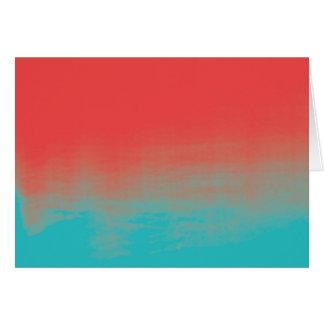 Texture d'aquarelle d'Ombre - Teal et corail Carte De Vœux
