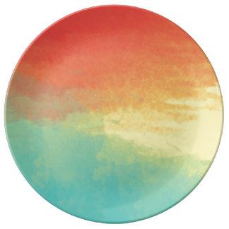 Texture d'aquarelle d'Ombre - Teal, jaune, corail Assiette En Porcelaine