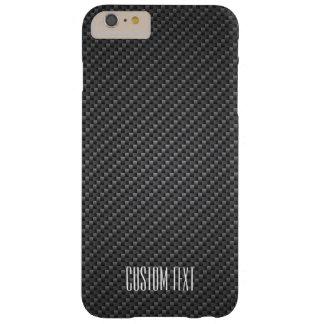 Texture de fibre de graphite avec le texte fait coque barely there iPhone 6 plus