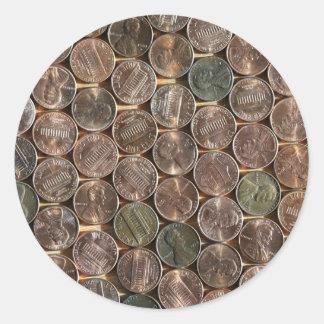 Texture de penny de Lincoln d'Américain Adhésifs Ronds