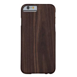 Texture en bois foncée d'acajou de grain de coque iPhone 6 barely there