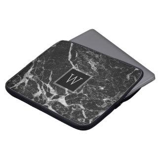 Texture en pierre de marbre noire et gris-clair housses ordinateur