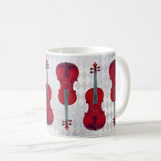 Texture scintillante de gris argenté de violon de mug blanc
