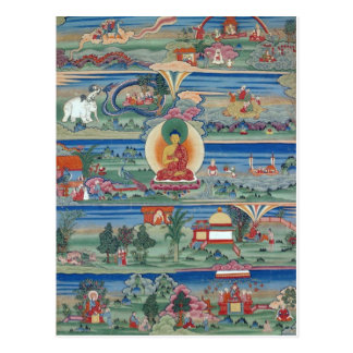 Thanka peint par Bhutanese des contes de Jataka Carte Postale