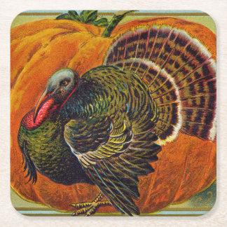 Thanksgiving Turquie devant un citrouille orange Dessous-de-verre Carré En Papier