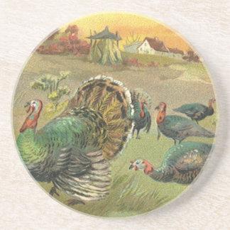 Thanksgiving vintage avec des dindes et des dessous de verre en grès