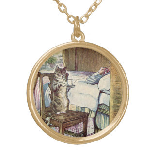 Thé de portion de chat - Beatrix Potter illustré Collier Plaqué Or