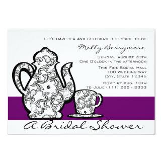 Thé nuptiale avec la couleur variable carton d'invitation  12,7 cm x 17,78 cm