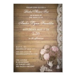 Thé nuptiale vintage de douche en bois et de carton d'invitation  12,7 cm x 17,78 cm