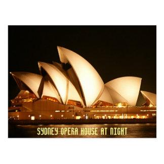 Théatre de l'opéra de Sydney la nuit Cartes Postales