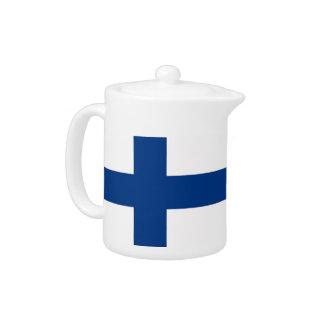 Théière de drapeau de la Finlande