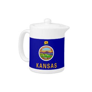 Théière de drapeau d'état du Kansas