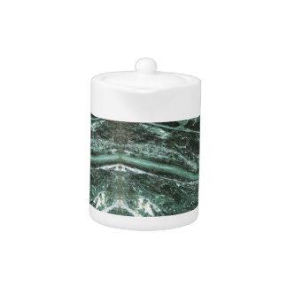 Théière en pierre de marbre verte d'émeraude de