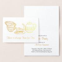 Théière, tasses de thé, et invitation de thé de