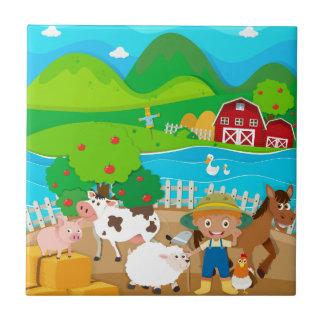 Thème de ferme avec l'agriculteur et les animaux petit carreau carré