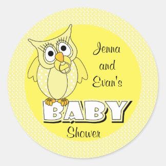 Thème jaune de baby shower du hibou | de point de sticker rond