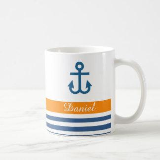 Thème nautique de marine orange mug