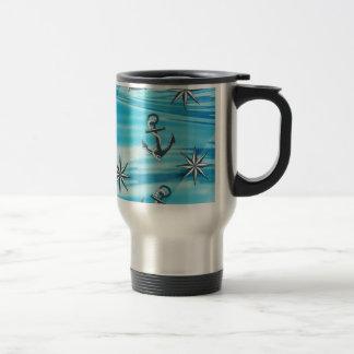 Thème nautique de navigation de boussole d'ancre mug de voyage en acier inoxydable