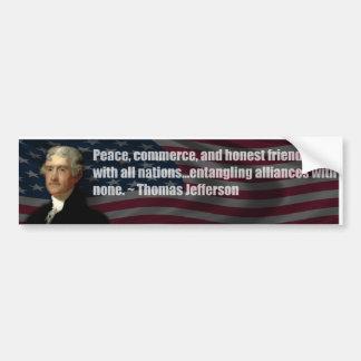 Thomas Jefferson empêtrant des alliances avec aucu Autocollant De Voiture
