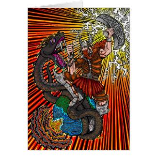Thor contre la carte de voeux de Jörmungandr