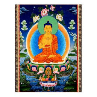 Tibétain Thangka Prabhutaratna Bouddha Carte Postale