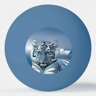 Tigre blanc bleu balle tennis de table