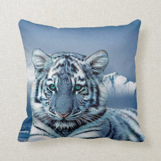Tigre blanc bleu coussin