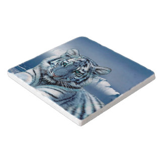Tigre blanc bleu dessous-de-plat