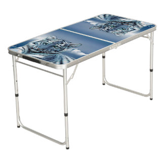 Tigre blanc bleu table beerpong