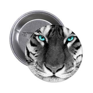Tigre blanc noir badge rond 5 cm