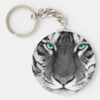 Tigre blanc noir porte-clé rond