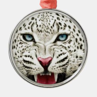 tigre blanc ornement rond argenté