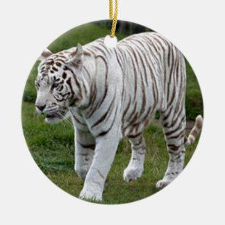 Tigre blanc ornement rond en céramique