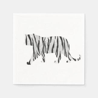 Tigre de silhouette noir et blanc serviette jetable