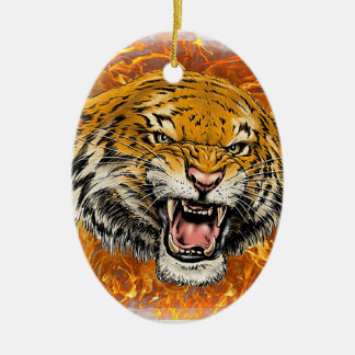 tigre en flamme ornement ovale en céramique